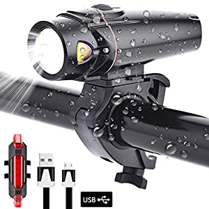 51Um6ONO1mL. SS300 (Set)Luci Bicicletta del LED,Lacyie Set di Luce Bici Anteriore e Posteriore Ricaricabile USB Sensore Intelligente 4 Modalità Impermeabile Bici Lampadine Ciclismo Bici Strada Montagna Sicurezza Notte