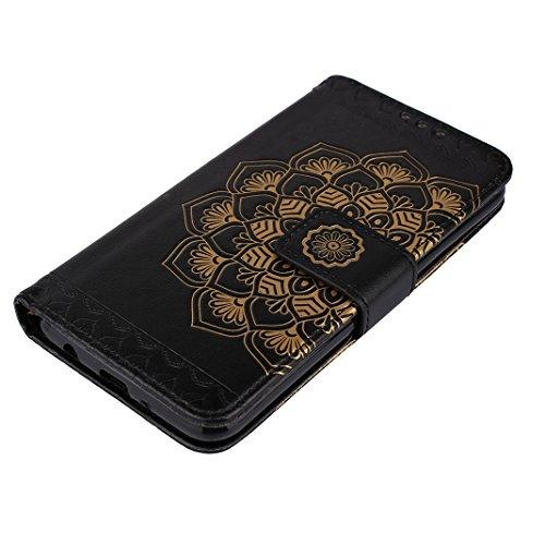 iPhone 5S Leder Hülle, iPhone SE Mandala Tasche, Rosa Schleife PU Ledertasche Flip Wallet Book Cases TPU inner Soft Backcover Mandala Muster Schutzhülle mit Magnetverschluss und Standfunktion Handyhül Schwarz