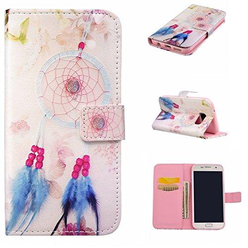 CaseHome Compatible For Samsung Galaxy S7 Wallet Funda,Carcasa PU Leather Cuero Suave Cover Función De Soporte Billetera Estilo del Libro Protector para Samsung Galaxy S7-Rosado Atrapasueños