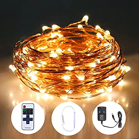 Led Starry String Lights 400 LEDs 50m 164Ft Fairy Copper Wire Ambiance Lighting Waterproof Warm White with Remote Control for Outdoor Indoor Christmas Decoration