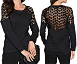 Uniquestyle Damen Spitzen Oberteile Langarm Spitzenshirt Elegant Spitze Pullover Langarmshirts Tops Hemd Shirt Schwarz XL
