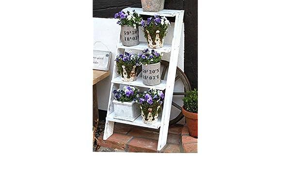 Portavasi A Scaletta In Legno : Shabby scala in legno per portavasi scaffale decorativo per
