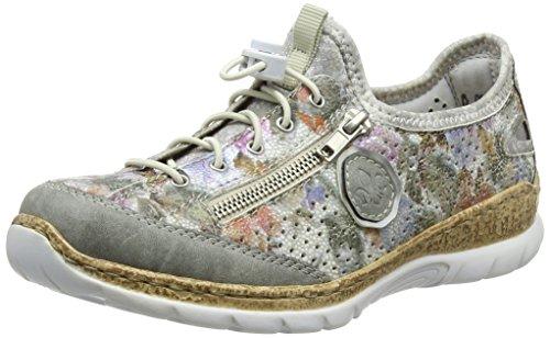 Rieker Damen N42V1 Slip On Sneaker, Mehrfarbig (Cement/Weiss-Multi/Argento/silverflower), 39 EU