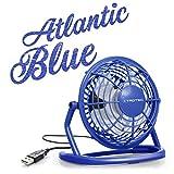 TROTEC TVE 1B Mini USB Ventilator/Fan / Lüfter in Atlantic Blue, geräuscharm mit An/Aus-Schalter, 360° Neigungswinkel, ideal für Schreibtisch Laptop Notebook, oder unterwegs (blau)