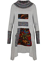 V60 CELEBMODELOOK ® New Women Ladies Kangaroo Pocket Italian Ladies Cowl Neck Tunic Batwing Top Dress In Plus Size. 12-26