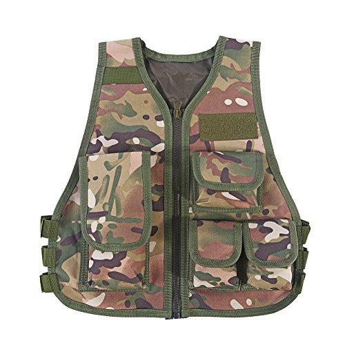 VGEBY Kinder Taktische Weste Einstellbare Camouflage Multi-Pouches Jacke für Outdoor Jagd CS Spiele Paintball(S-CP)