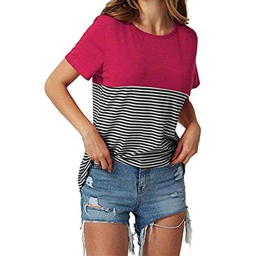 Moonuy,Frauen Kurzarm-Oberteile, 2018 Mode V-Ausschnitt Damen Striped Patchwork Bluse Kleidung T-Shirt mit Taschen Bleistift Pullover Freizeit Sweatshirt für Frauen (EU 40 / Asien XL, C) - Striped Bustier