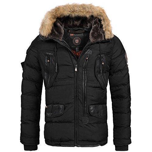 Geographical Norway Buckleberry Herren Luxus Winterjacke Parka Ski Jacke super warm S-XXXL, Größe:S;Farbe:Schwarz Super Warme Jacke