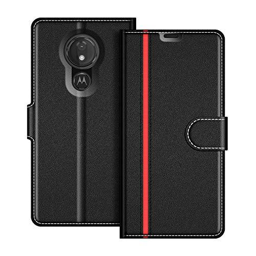 COODIO Handyhülle für Motorola Moto G7 Power Handy Hülle, Motorola Moto G7 Power Hülle Leder Handytasche für Motorola Moto G7 Power Klapphülle Tasche, Schwarz/Rot