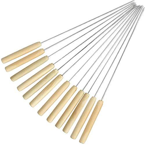 Wzmdd Kebab-Spieße, Holzgriff Edelstahl-Metall-Spieße Sticks, Metall Kabab Sticks for Barbecue und Kochen, - Grillbesteck Testsieger