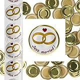 Set di 50 coperchi TO43 Gold + Etichette per Matrimonio Just Married I Confezione Regalo alla Moda per marmellata, Campioni di Costi & Give Aways I Einkochzubehör