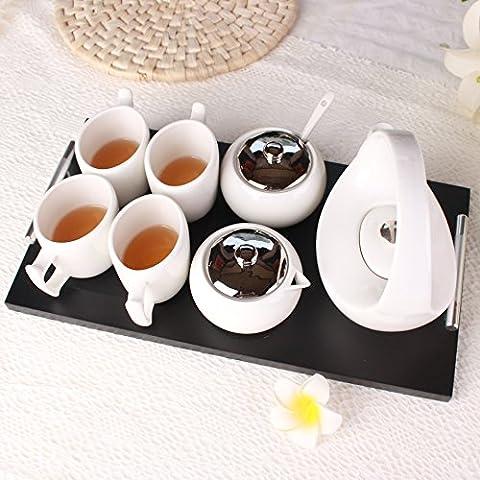KHSKX Keramik Kaffee Continental Cups mit Bambus set Kaffee Set