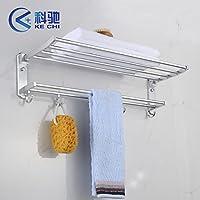 BTJC Doppio in alluminio spazio attivit¨¤ di asciugamano rack collegato a mensole bagno porta asciugamani