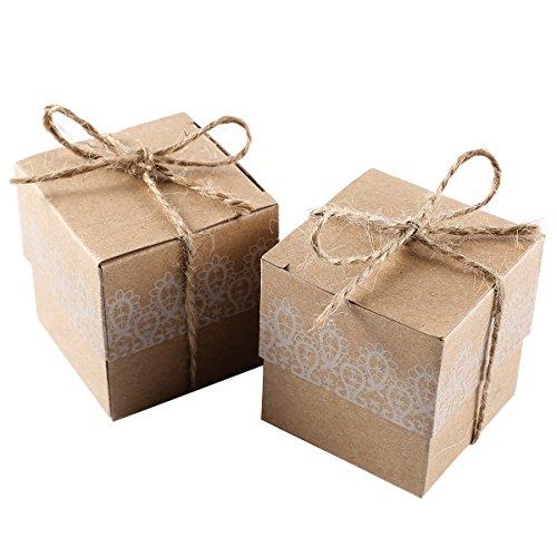 umen Kraftpapier Geschenkbox Geschenkschachtel Kartonage Geschenkverpackung Cupcake Box Gastgeschenk mit hessischer Band Hochzeit Party Tischdeko Vintage ()