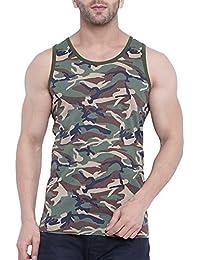 Krystle Boy's Cotton Sleeveless Army Camouflage Print Sports Vest