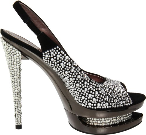 Pleaser Day & Night, Sandali donna Blk Suede/Pewter Chrome