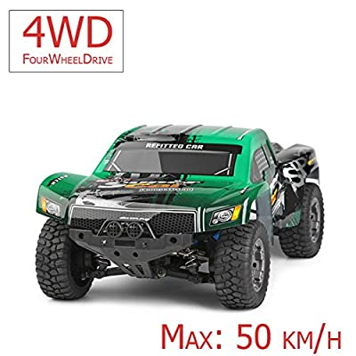 FM 12403  Short Course 1:12 50 km/h schnell! Grün mit Allrad 4WD riesig mit 2,4 GHz Ferngesteuertes Auto Monstertruck und riesen Reichweite! Inkl. Akku und Ladegerät Spritzwassergeschützt und fast unzerstörbar! von fm-electrics