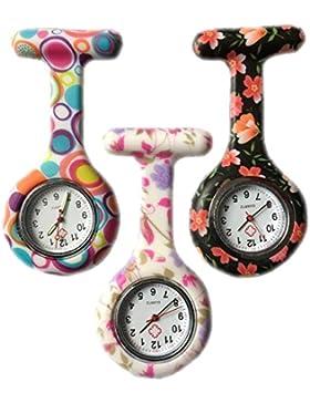 Ruiying 3 x Uhren Krankenschwester FOB-Uhr Damen Taschenuhr Analog Quarzuhr aus Silikon ROUND Blase / Blume /...