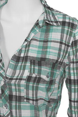 Patte de col classique manches longues en coton de aufgekrämpelte des femmes menthe fraîche