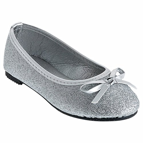 Eva Mode Girls' Ballet Flats Silver Size: 10 UK Child