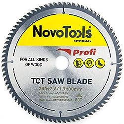 NOVOTOOLS Lame de scie circulaire à bois 250 x 30 mm x 80 dents pour scies Festool, Bosch, Makita, DeWalt etc.