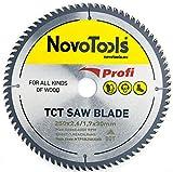 NOVOTOOLS Lama per sega circolare 250 x 30 mm, 80 denti per legno per Festool, Dewalt, Bosch, Makita, ecc. Alta Qualità