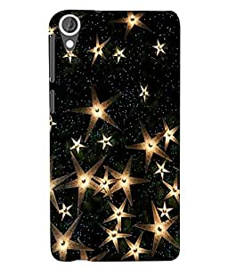 Citydreamz Golden Stars\Glitters Hard Polycarbonate Designer Back Case Cover For HTC Desire 828