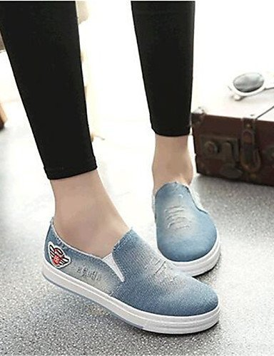 ShangYi gyht Scarpe Donna-Mocassini-Tempo libero / Casual / Sportivo-Comoda-Piatto-Denim-Nero / Blu Light Blue