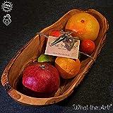 What the Art! Olive Wood | Olivenholz Obstschale inkl. 2X Weinkorken + Geschenk | Gr. XXL | ca. 38cm x 16cm x 8-12cm | Schale - Holzschale - Dekoschale - Servierschale - Olivenholzschale