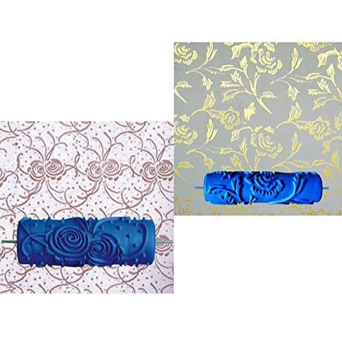 Homyl 2 Piezas Rodillos de Pintura de Pared con Dibujo de Árboles Flores Herramienta para Decoración Mural DIY