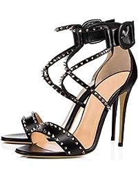 L@YC Mujer Sandalias Remache Peep Toe Plataforma Comfy Ladies Chunky Black Work Office Confort