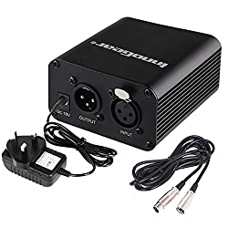 Innogear Single Channel 48v Phantom Power Supply With Adapter & Audio Xlr Cable (3 Meters 10 Feet) For Any Condenser Microphone Music Voice Recording Equipment