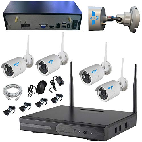 ITALIAN ALARM Kit Videosorveglianza Telecamere Wireless WiFi da esterno,  APP Android/IOS, Visione Notturna, Doppia porta USB, On/OFF, Antenne NVR