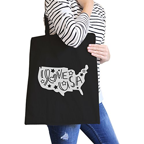 365 Printing inc , Borsa da spiaggia  Donna Ameowica Natural Canvas Bags Misura unica I Love USA Black Canvas Bags