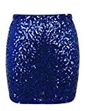 PrettyGuide Damen Pailletten Rock Stretchy Bodycon Glam Mini Club Rock XL Blau