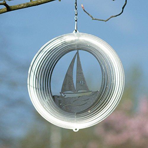 Edelstahl Windspiel - SEGELBOOT 180 - lichtreflektierend - Abmessung: 18x19cm - inkl. Aufhängung - 3
