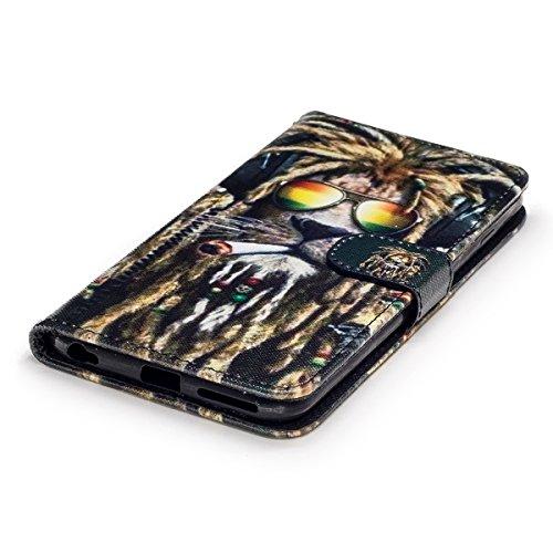 iPhone 6S Plus Hülle,iPhone 6 Plus Hülle,iPhone 6 Plus/6S Plus Ledertasche Handyhülle Brieftasche im BookStyle,Saincat Kreative Karikatur Muster PU Leder Hülle Wallet Case Folio Schutzhülle Scratch Bu Löwe