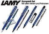 Lamy Safari Set [Füller + Kugelschreiber + Tintenroller + Bleistift] (inkl. Ersatzminen + Patronen, Blau - Blue)