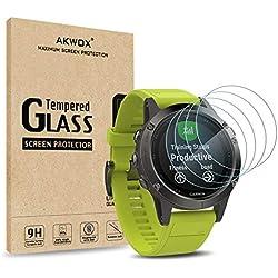 Akwox [Lot de 4 Verre Trempé Garmin Fenix 5, [0.3mm] Film de Protection d'Écran Anti Rayures Film Protecteur en Verre trempé pour Fenix 5