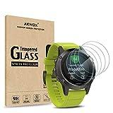 Akwox 4 Stück Schutzfolie für Garmin Fenix 5 Panzerglasfolie 9H Härtegrad 0.3mm Kratzfest HD Glasfolie für Fenix 5