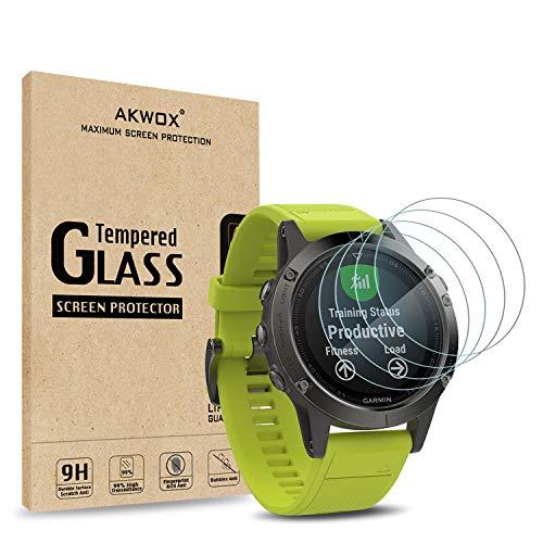 AKWOX [4 Unidades] Protector de Pantalla para Garmin Fenix 5 [9H...