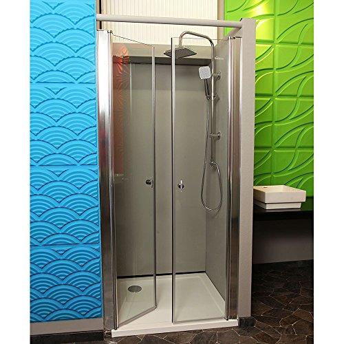 Home Deluxe | Duschabtrennung | Lavea | Klarglas | mit 6mm nanobeschichtetem ESG und Hebe-Senk-Funktion | 85 x 195 cm