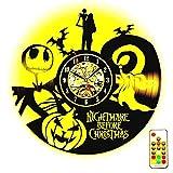 The Nightmare Before Christmas LED Orologio da parete in vinile Luce notturna creativa - Regalo fatto a mano unico per Natale, San Valentino, Festa della mamma