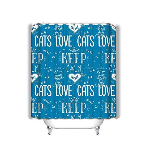 Xunulyn Beach Shower Curtain Funny Phrase Keep Calm Love Cats Funny Phrase Keep Calm Colored Fabric Bathroom Decor 60 X 72 Inch