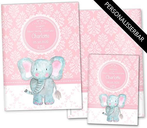 U-Heft Hülle SET rosa Little Lady Untersuchungsheft & Impfpasshülle niedliche Geschenkidee personalisierbar mit Namen (U-Heft Set personalisiert, Elefant) (Mit Team Kurzen Womens)