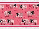I-love-Wandtattoo b-10011 Kinderzimmer Bordüre Schafe Tiermotiv mit Blumen Kinder