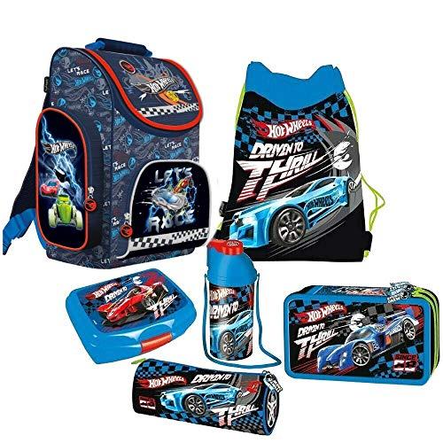 kids4shop HOT Wheels Cars Autos 6 Teile Schulranzen RANZEN FEDERMAPPE Rucksack Tasche Set