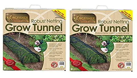 Set of 2 Black Net Grow Tunnel Cloches (3m) by