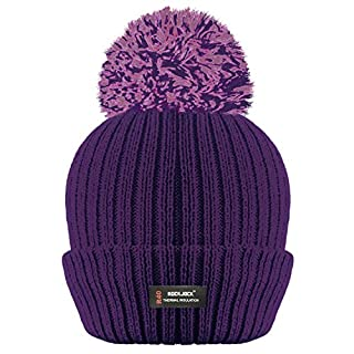 ROCKJOCK R40 LADIES WOMENS WINTER POM POM RIBBED BEANIE HAT WITH ADVANCED THERMAL INSULATION