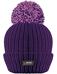 ROCKJOCK R40 LADIES WOMENS WINTER POM POM RIBBED BEANIE HAT WITH ADVANCED  THERMAL INSULATION 0c1f3e5af4d
